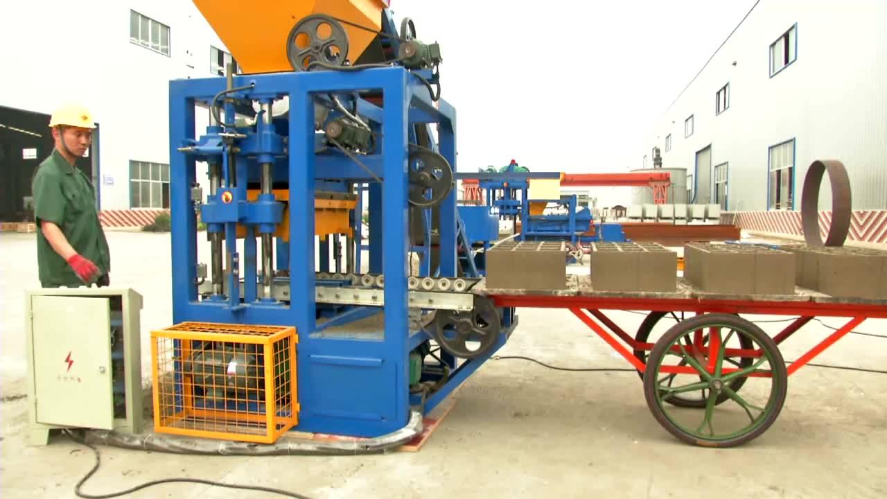QT4-24 semi automatic china hollow concrete block making machine in zambia