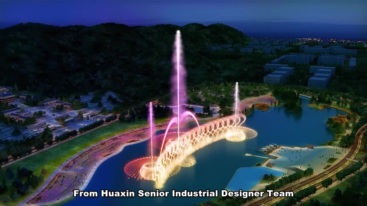 Music Dancing Water Fountain Music Fountain Construction with RGB DMX512 Underwater LED Light and Music Fountain Control System