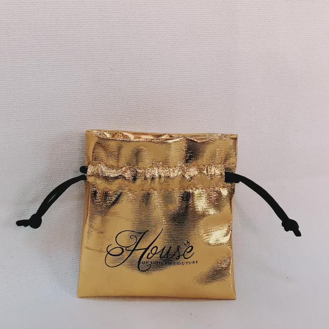 Navidad de lujo bolsa de la joyería delicada regalo bolsa de cordón con la cuerda de la promoción para el festival