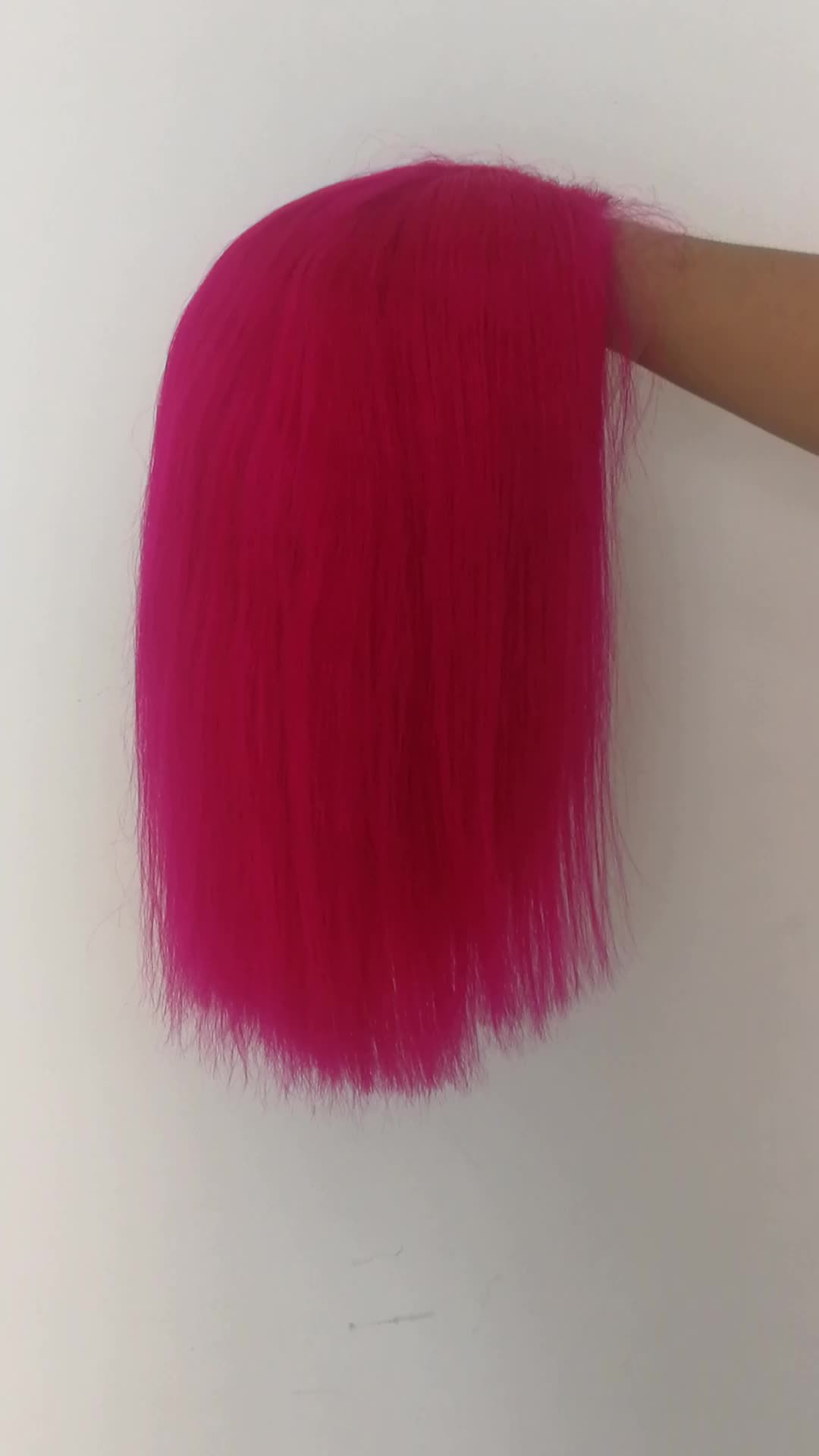 Wholesale straight elastic band wig human hair rose pink wig pink colored natural hair line lace front wig with baby hair