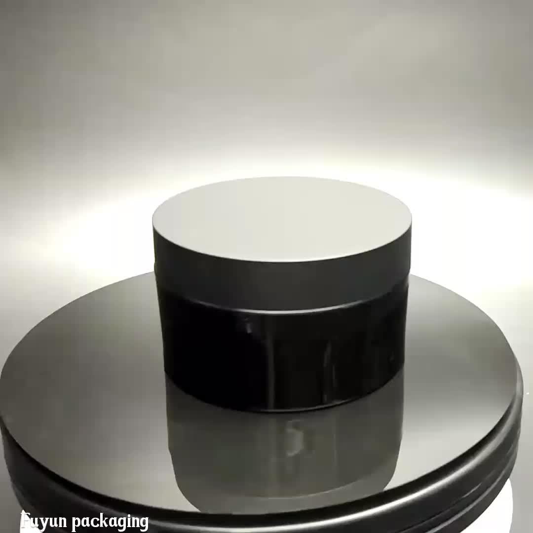 Fuyun 120ml empty plastic pet cosmetic container black jar with black screw lid