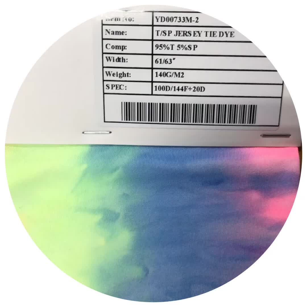 High quality and inexpensive tie dye custom jersey spandex polyester  fabric