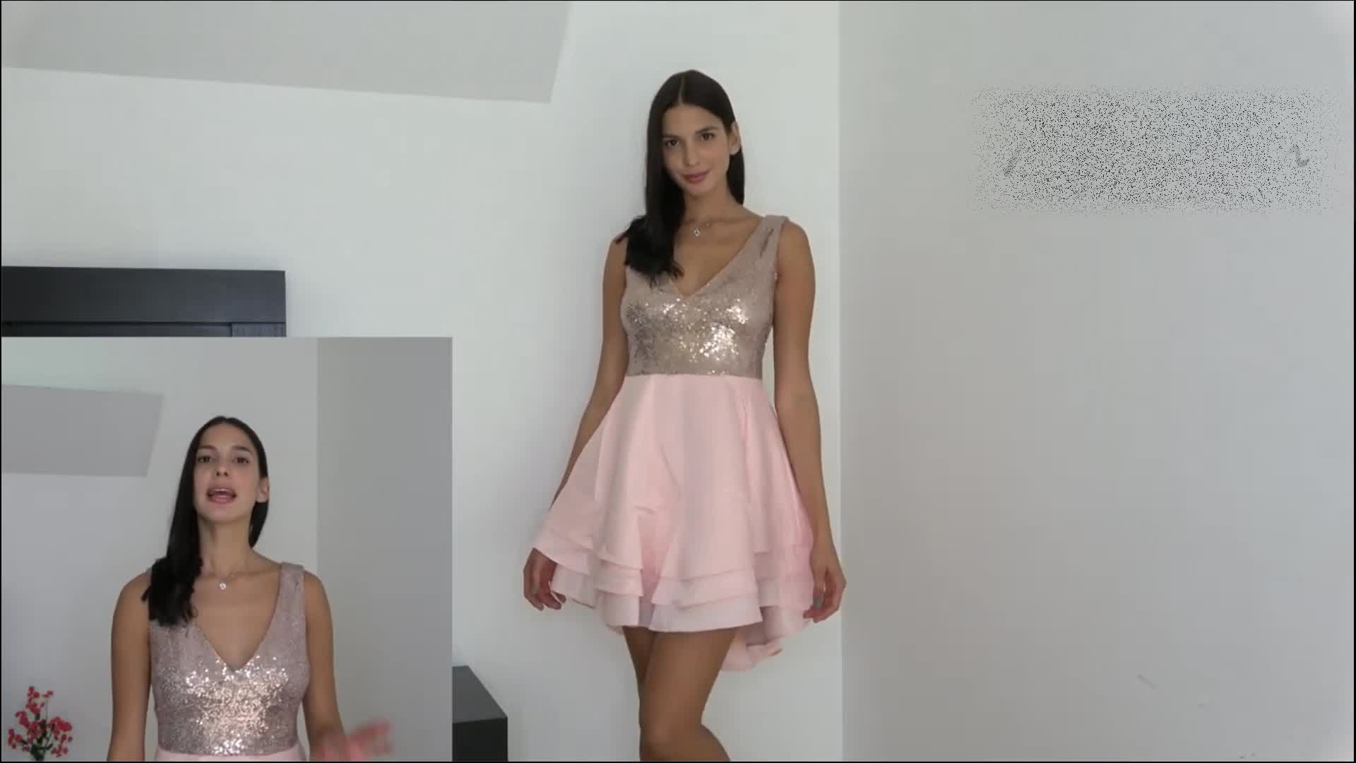 नई शैली महिलाओं सेक्सी स्केटर पोशाक गुलाबी गोल्ड क्लब पार्टी सेक्विन पोशाक