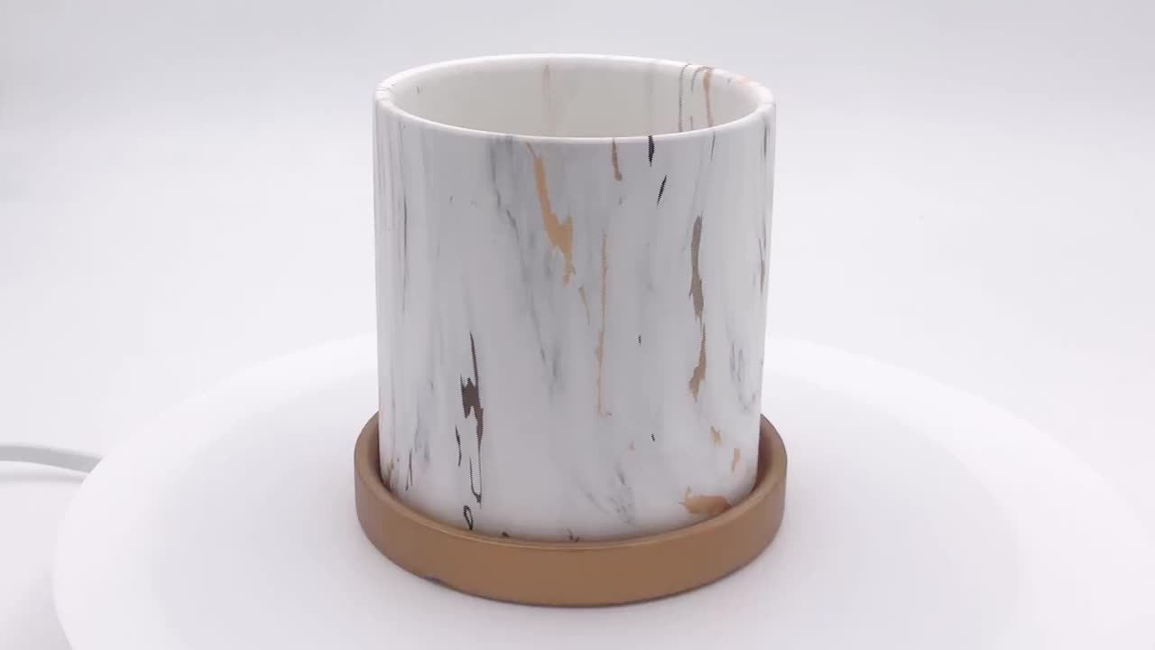 Gold And White Marble Effect Ceramic Flower Pot With Tray