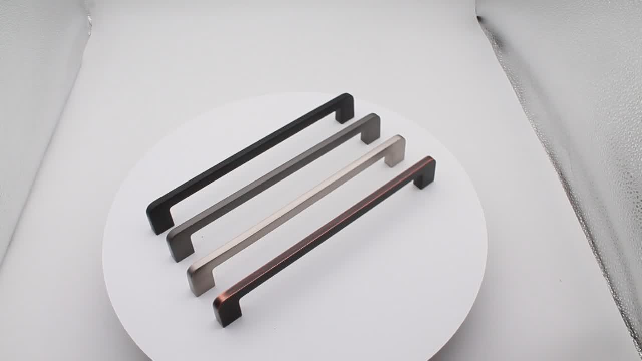 Manija de acero inoxidable para armario de cocina, manija negra mate para muebles/
