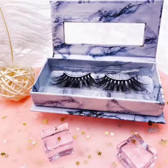Private Label Eyelash Vendor Fluffy 25mm 100% 3d Mink Eyelashes With Packaging Box