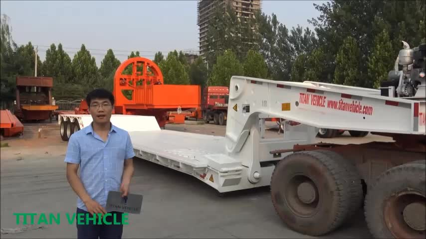 Excavator Steering trailer 4 axles 150 ton 6 wheeler folding goose neck detachable tri-axle 60 ton 80 ton lowboy trailer