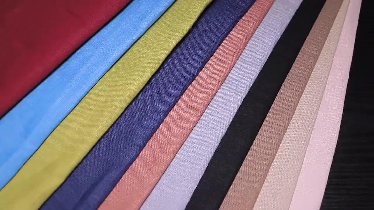 Varios Colores listo en stock liso teñido tejido fino de algodón de lino de tela para el vestido