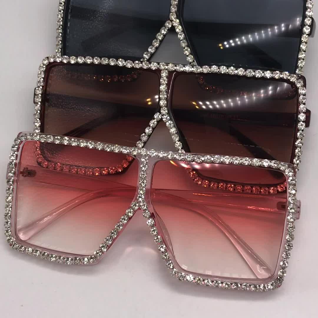 Nouvelle conception de bande surdimensionné cadre bling soleil nuances femmes grand carré diamant lunettes de mode strass lunettes de soleil