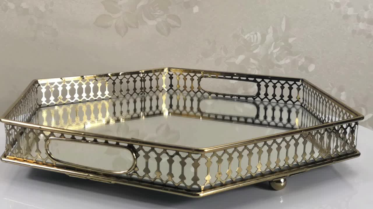 Multifunctional home decor purpose useful wholesale various metal serving mirror tray
