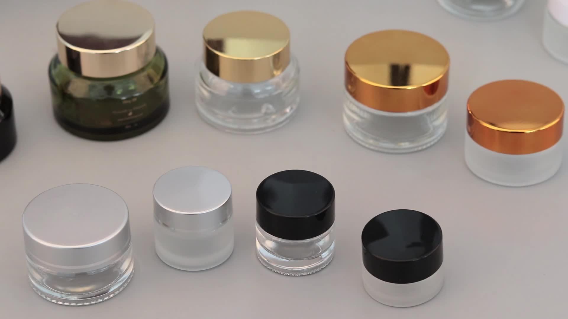 空つや消しクリアガラス化粧品クリーム 15 ミリリットルガラス瓶