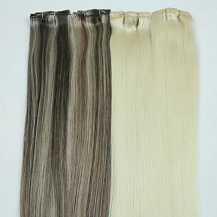 A buon mercato punto culminante di colore clip di capelli remy umani di estensione dei capelli per donna bianca