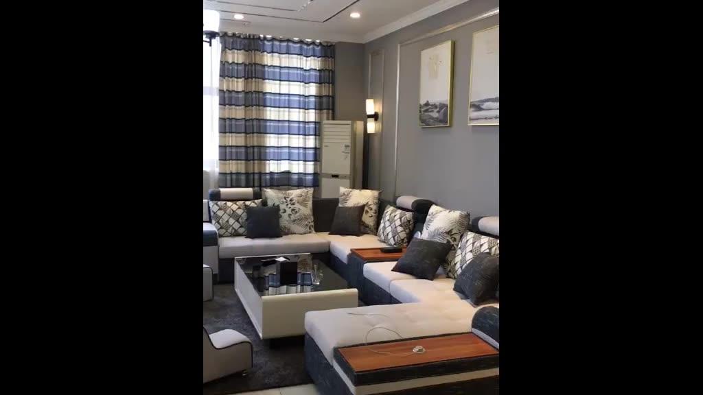 مصنع الجملة أريكة لغرفة المعيشة طقم أرائك نسيجي حديث 7 مقاعد الصفحة الرئيسية مجموعات E-commerce الاسترخاء الساخنة u على شكل أريكة الاقسام