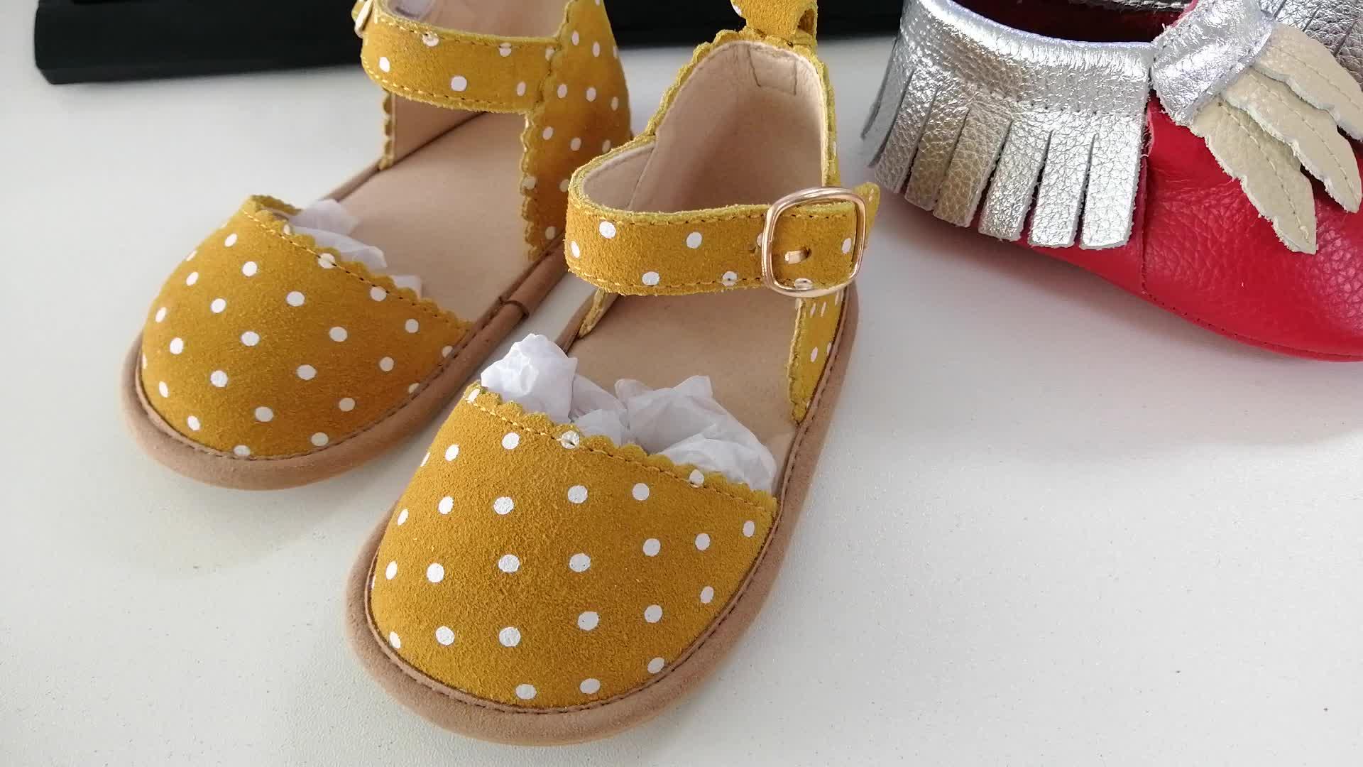 BEIBEINOYA Vague point daim cuir bébé filles chaussures taille 2-13 respirant semelle extérieure en daim sandales filles