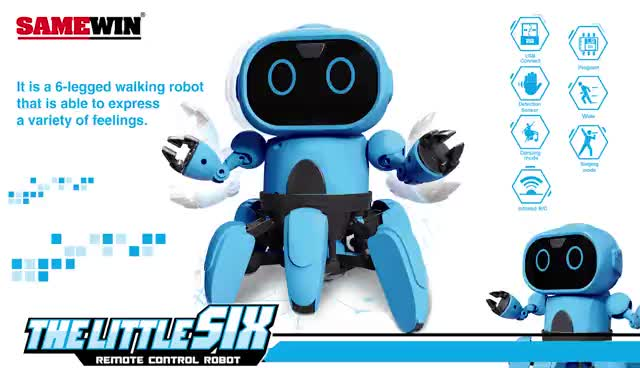 Thelittlesix 991 Intelligent Programming 6-Way Remote Control Robot  Voice Control RC Robots Music Dancing Toys for Kids