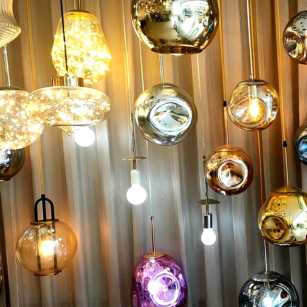 110V 220V Colorful Glass Pendant Light E27 E26 Western style hanging lamp