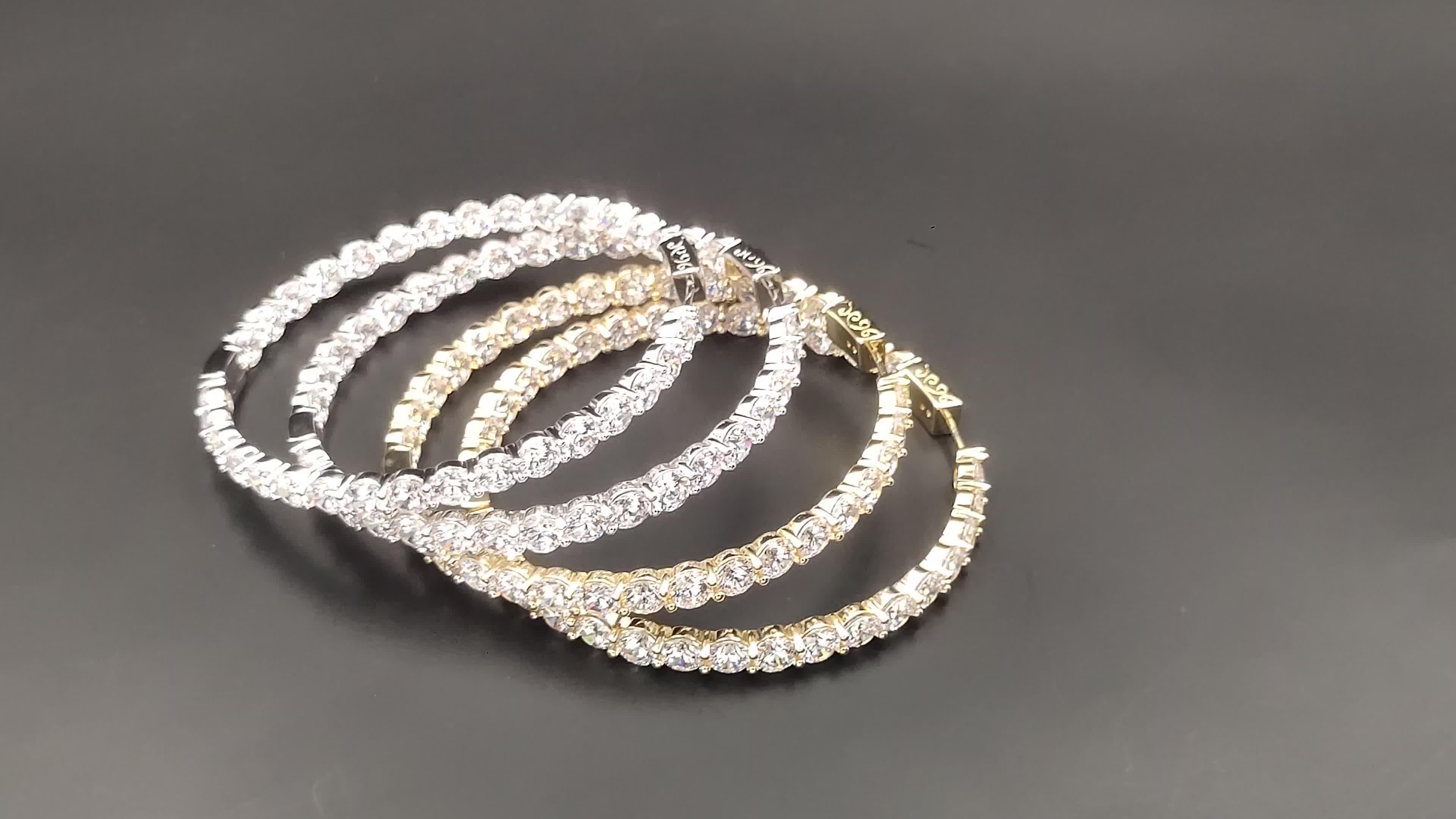 Nuevos pendientes de moda para mujer, pendientes de aro de piedra cz chapados en oro sólido Real de 14K