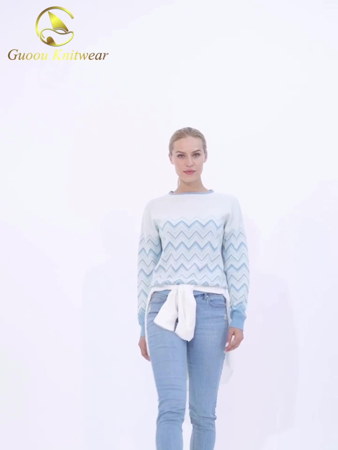 Guoou Triko Özel Çizgili Desen Kazak Örme Kadın Yün Kazak