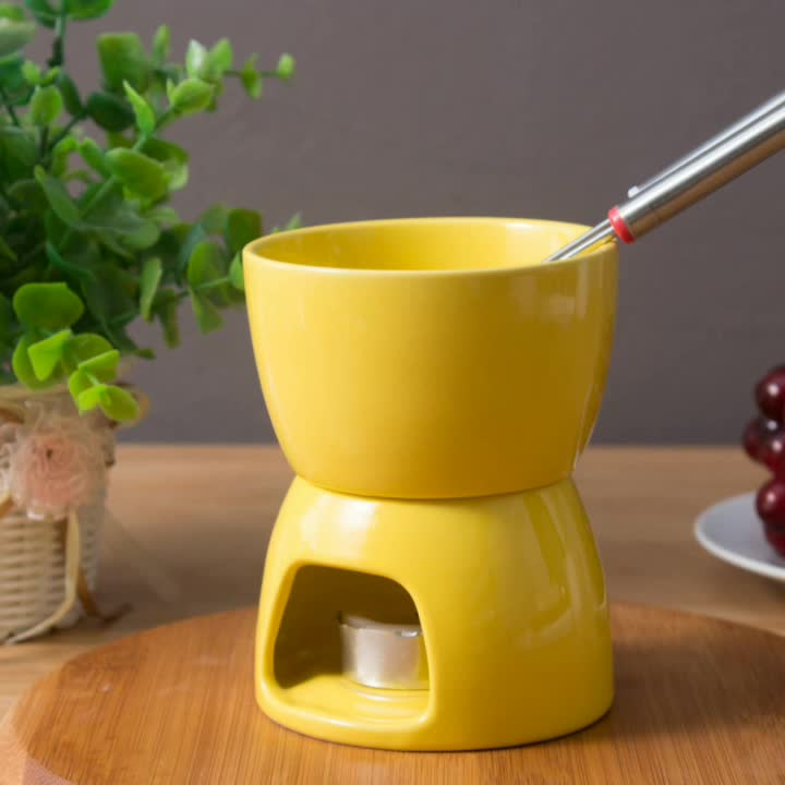 Porcelain custom yellow fondue sets wholesale Melting Pot For Cheese Chocolate and Tapas mini ceramic fondue pot