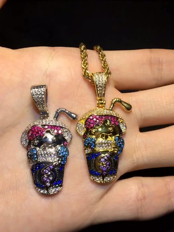 Uwin гений форма кристалл кулон многоцветные Iced Out Позолоченные Подвески ожерелье CZ камни ювелирные изделия оптом для человека