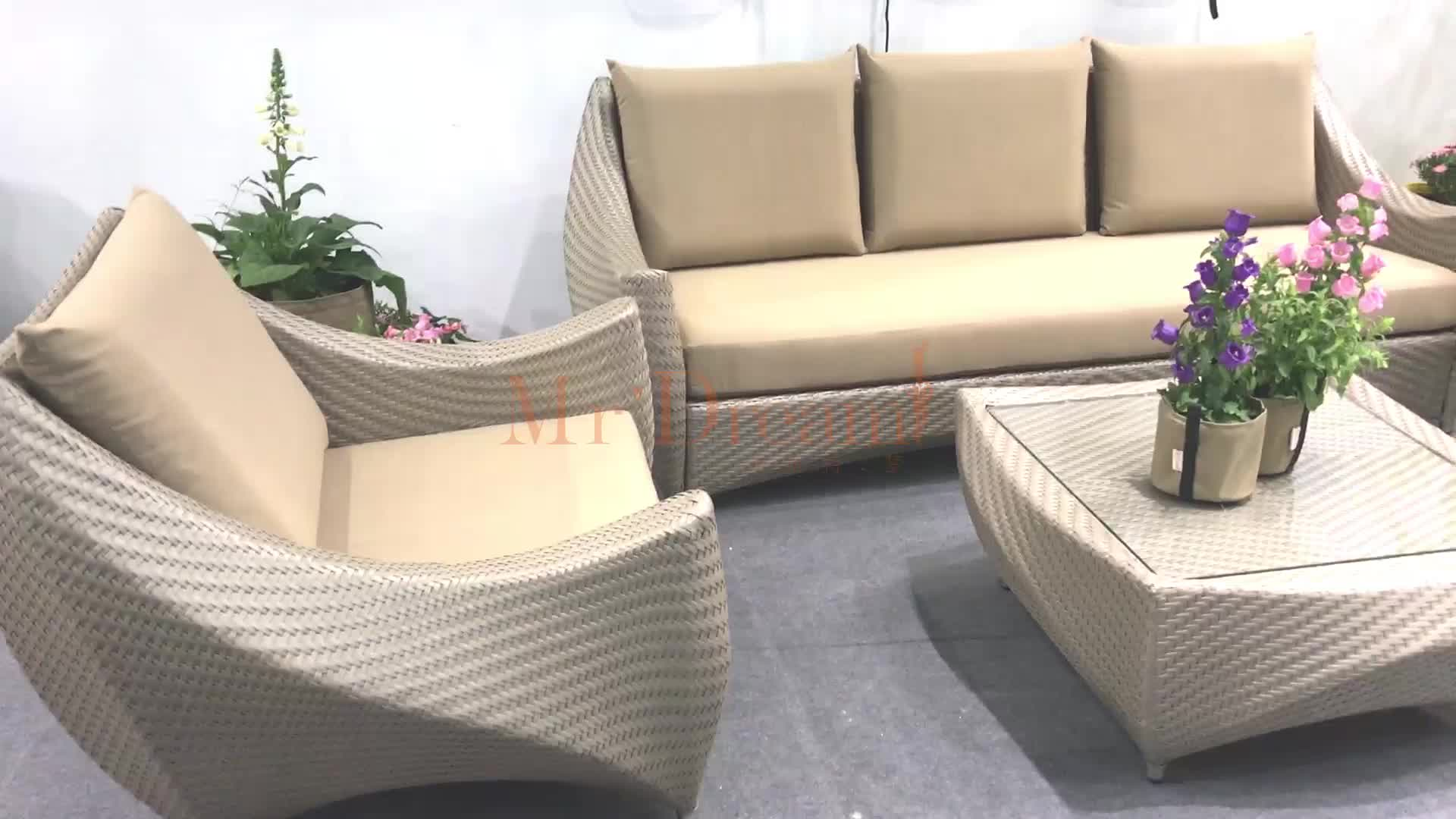 Foshan supplier high end used modern Hilton hotel cast aluminum poly rattan furniture