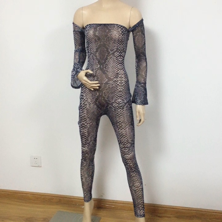 Mesh Hot Sexy Transparent One Piece Women Print Fashion Skinny Outfits Long Sleeve Bodysuit And Pants Sets