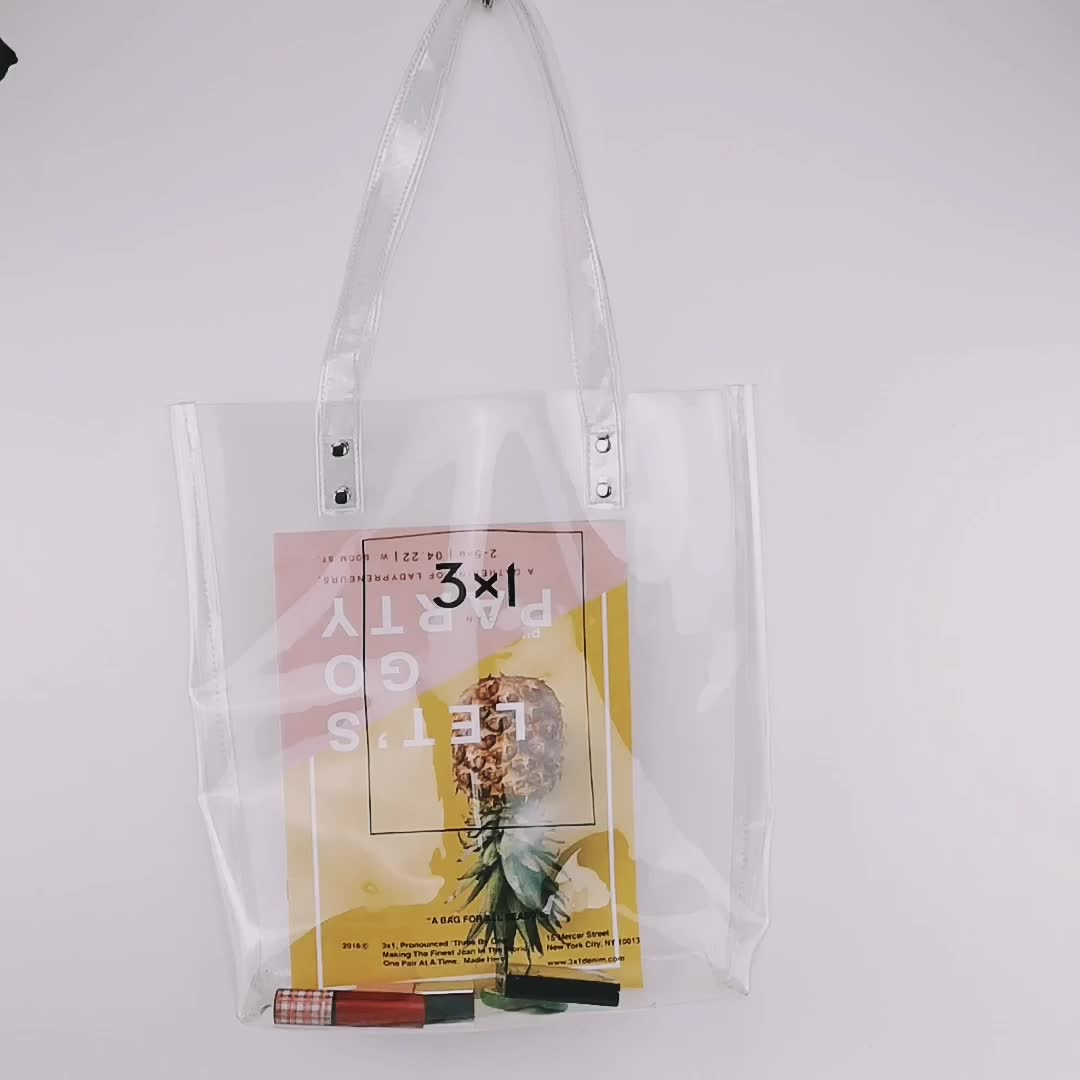 Top online fashion women waterproof PVC transparent clear tote bags