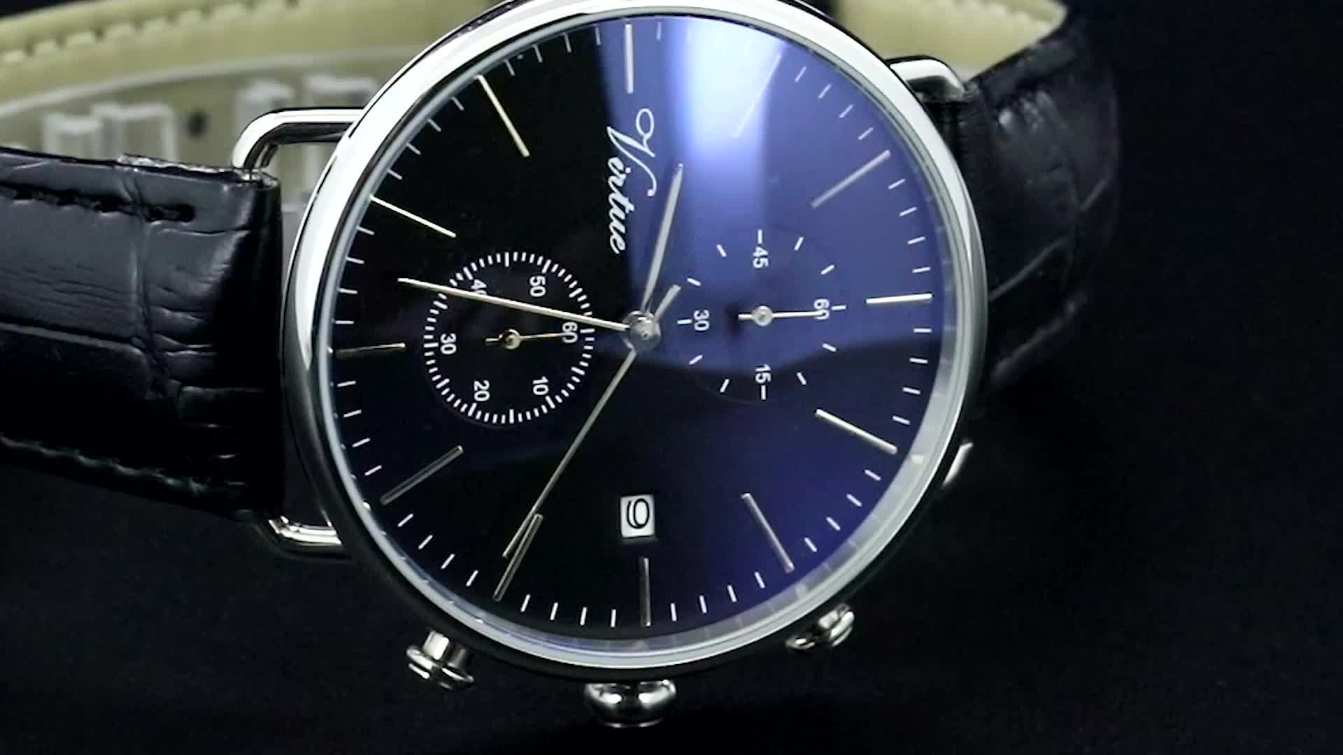 2020 क्रोनोग्रफ़ नीलम क्रिस्टल कस्टम लोगो कलाई घड़ी Mens स्टेनलेस स्टील घड़ियों