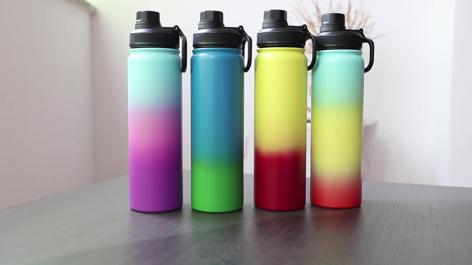 wholesale sports vacuum flask with bamboo lid  3 LIDS options