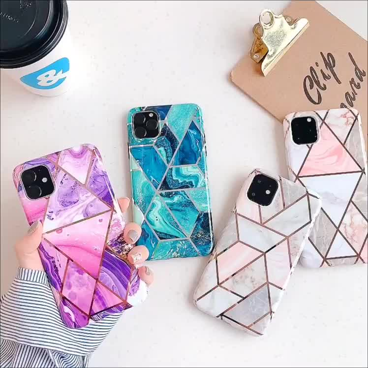 The latest electroplating splicing bronzing marble pattern silicone phone case for iPhone 11
