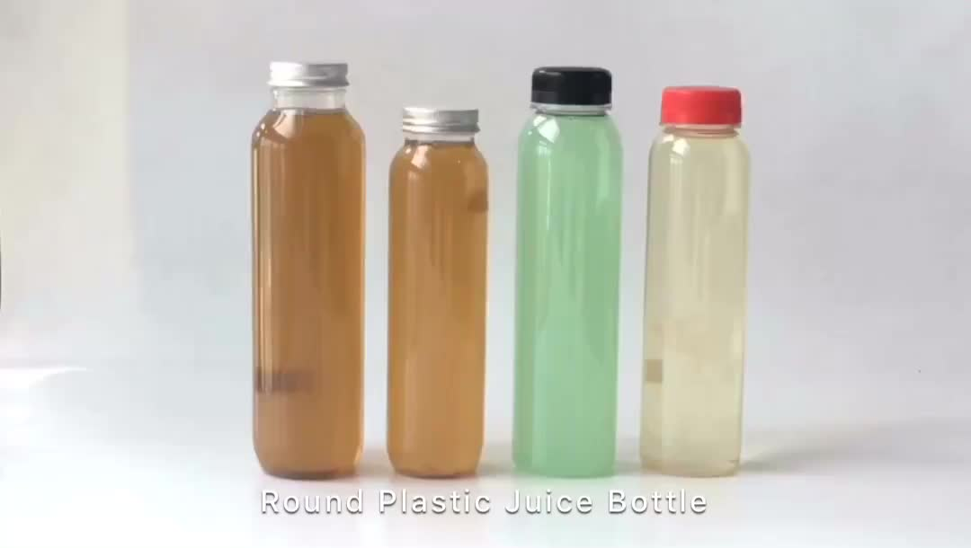 PET Plastic Cold Pressed Juice Bottle 350ml With 38mm White Tamper Evident Cap
