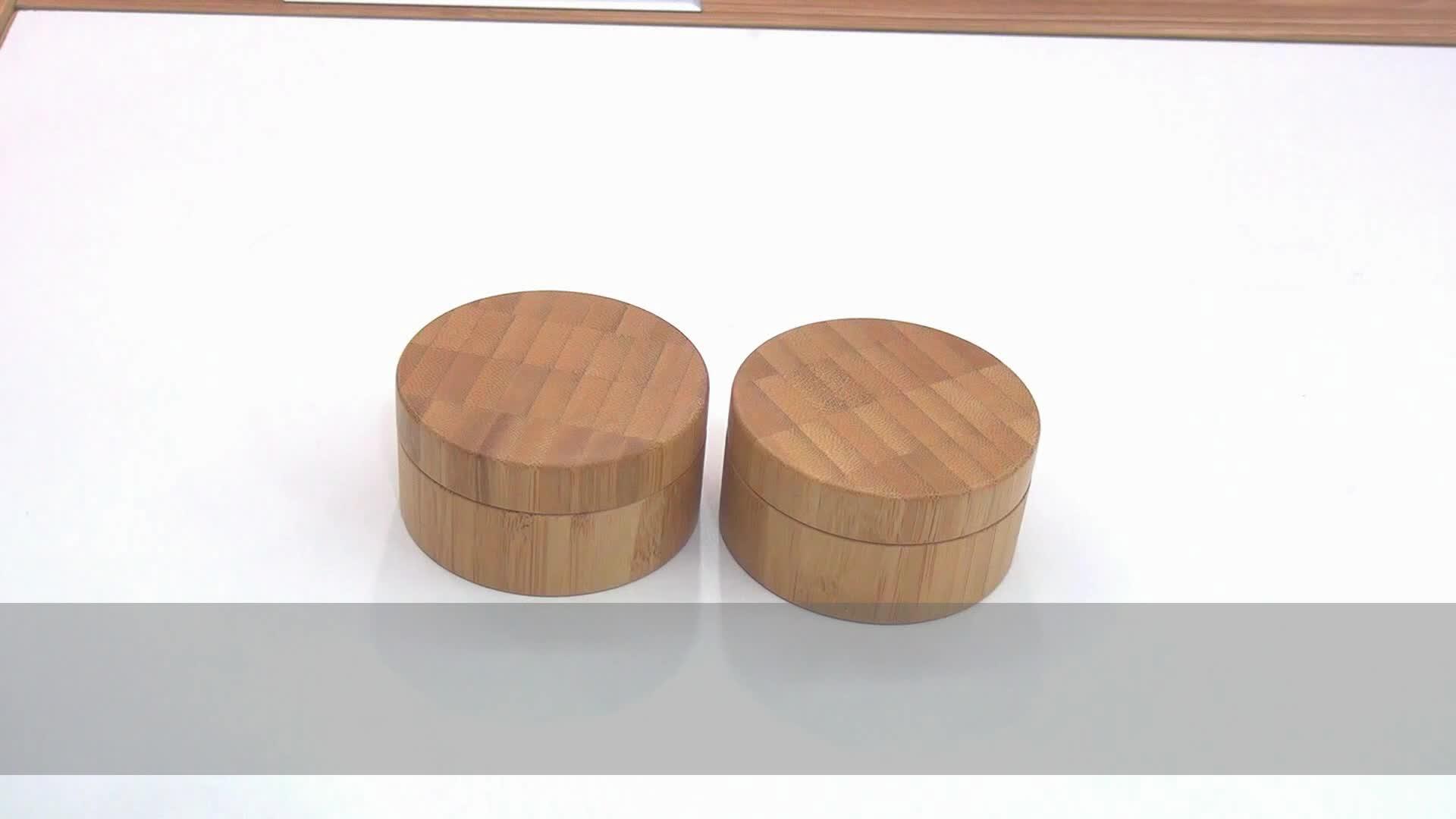 Zarif Boş Bambu Gevşek Toz Kılıf Elek 30g ile 30 ml Yüksek Dereceli DIY Bambu Kozmetik Toz Konteyner 1 oz ile Puf