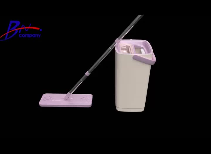 Microfibre pad self washing and cleaning flat mop and bucket