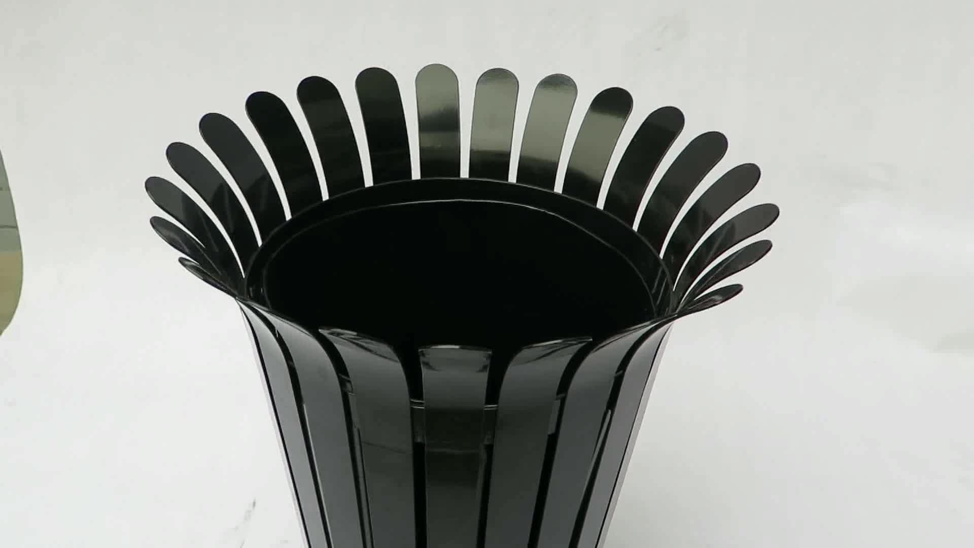 Outdoor Public Steel Garbage Can Park Street Metal Recycling Waste Black Trash Bin