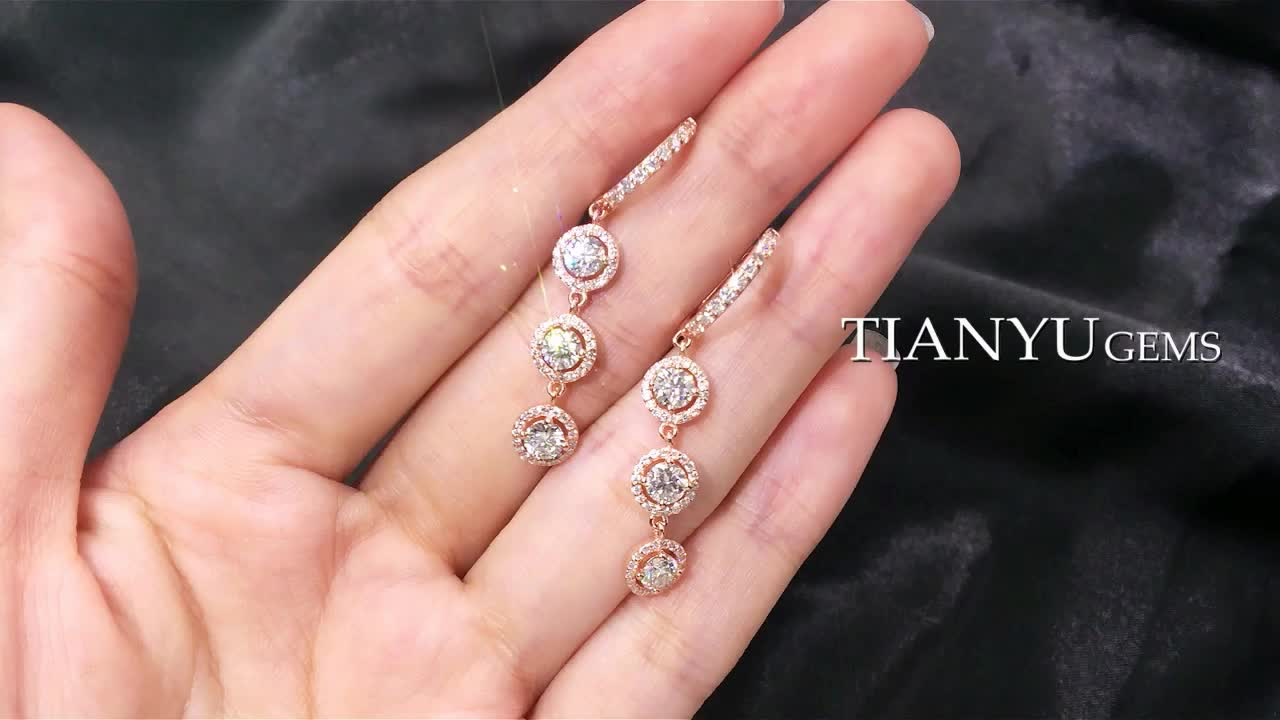 tianyu gems china jewelry manufacturer 925 silver rose gold plated moissanite earrings