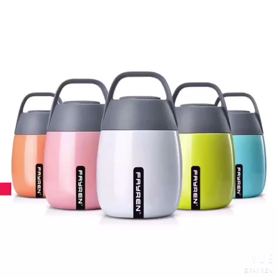 Push switch portable insulated thermos container vacuum food jar container stainless steel soup pot