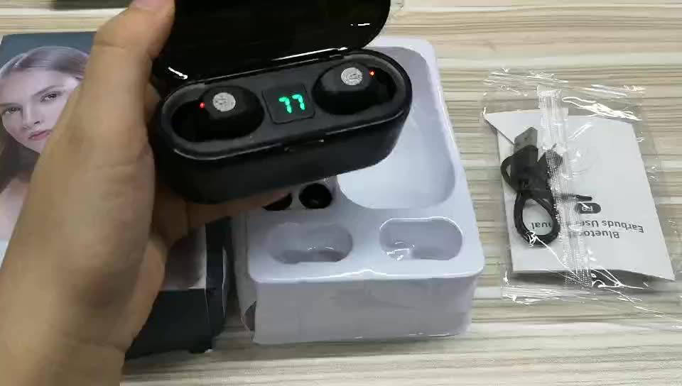 F9 TWS Wireless Earphones Digital LED Display Bluetooth V5.0 Earbuds Bluetooth Headphone With 2000mAh Power Bank Headset