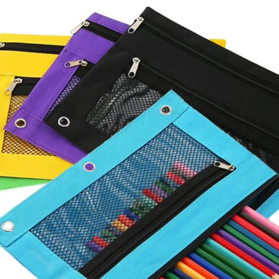 3-Ring Binder kalem çantası kırtasiye çanta fermuarlı kalem çantası ile PVC örgü pencere