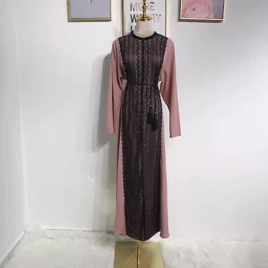 2019 New Arrival Classical style crepe with lace muslim women maxi dress with belt