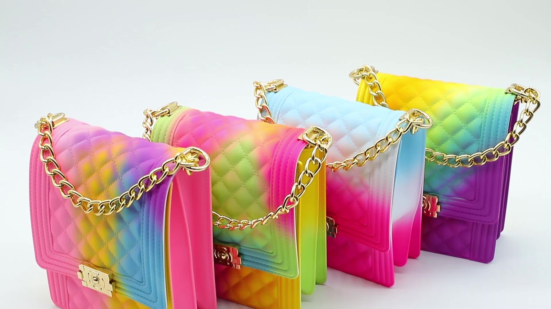 ゼリーハンドバッグ 2020 新しい女性のホット販売ゼリーショルダーバッグカラフルな pvc 財布トートマットショルダーバッグハンドバッグゼリー財布