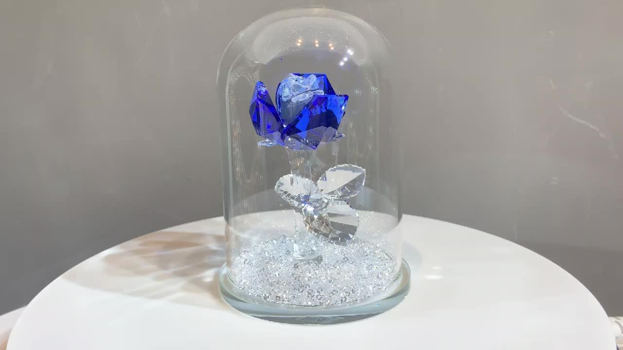 H & D Beauty And the Beast Rose Encantado de Vidro Rosa De Cristal Peso De Papel de Cristal Rosa Azul em sinos de Vento Pingente Presentes de aniversário