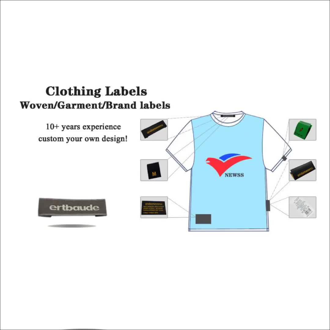 Bekleidungs Zubehör Mode Benutzerdefinierte Marke Name 100% Polyester Maschine Gewebt Waschen Pflege Etiketten und Hals Tags