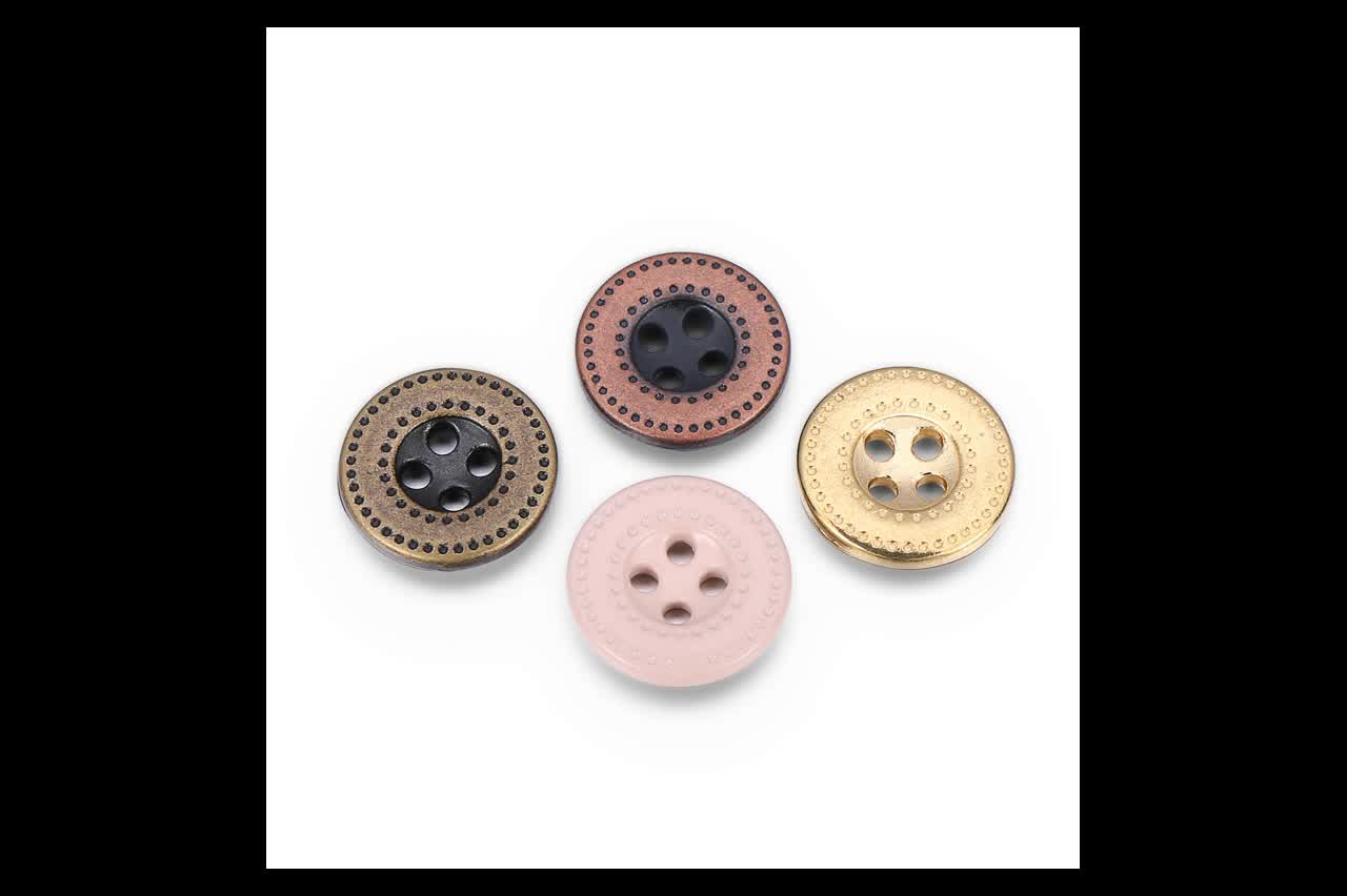 Customized plating color custom 4hole metal button