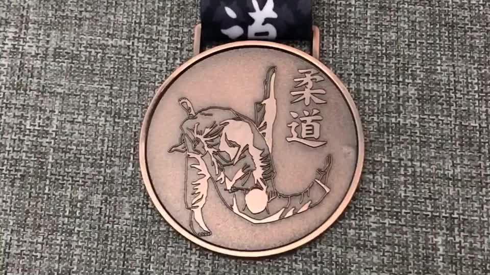 Huanhai factory free design custom metal 3D award judo medal