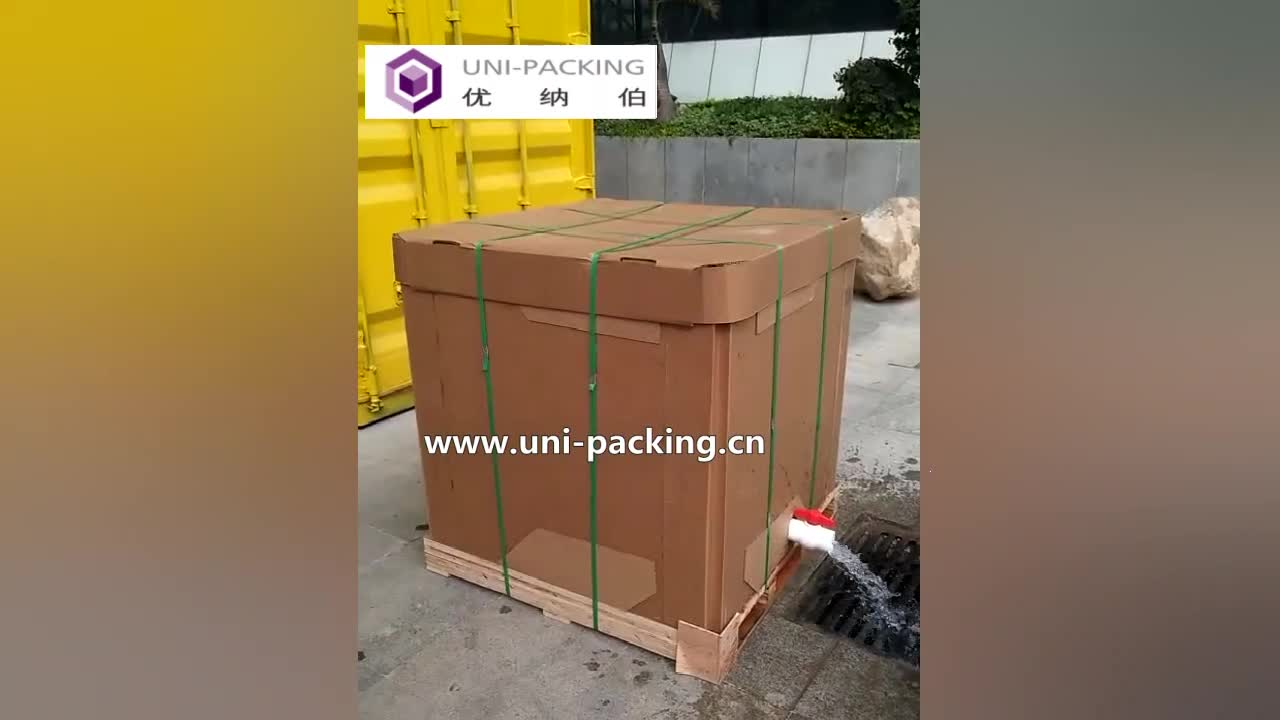 1000L square paper ibc container with food grade ibc liner for palm oil liquid transportation