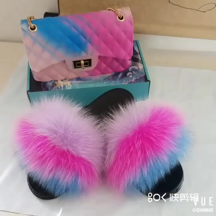 Fashion Style Real Fox Fur Slides Slippers And Multicolor Cross-body Bag Sets For Girls and Women
