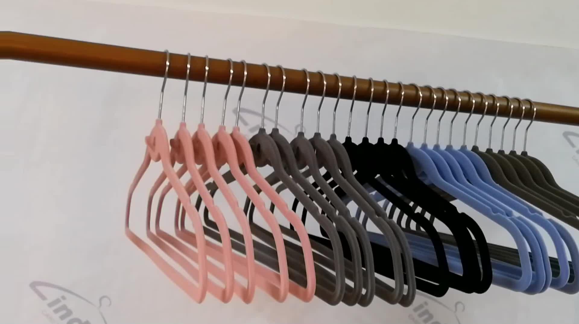 50 Pack Cascade Hook Pink Velvet Non Slip Coat Suit Clothes Hangers Ultra Thin Flocking Plastic Dress Hangers for Cloths Velvet
