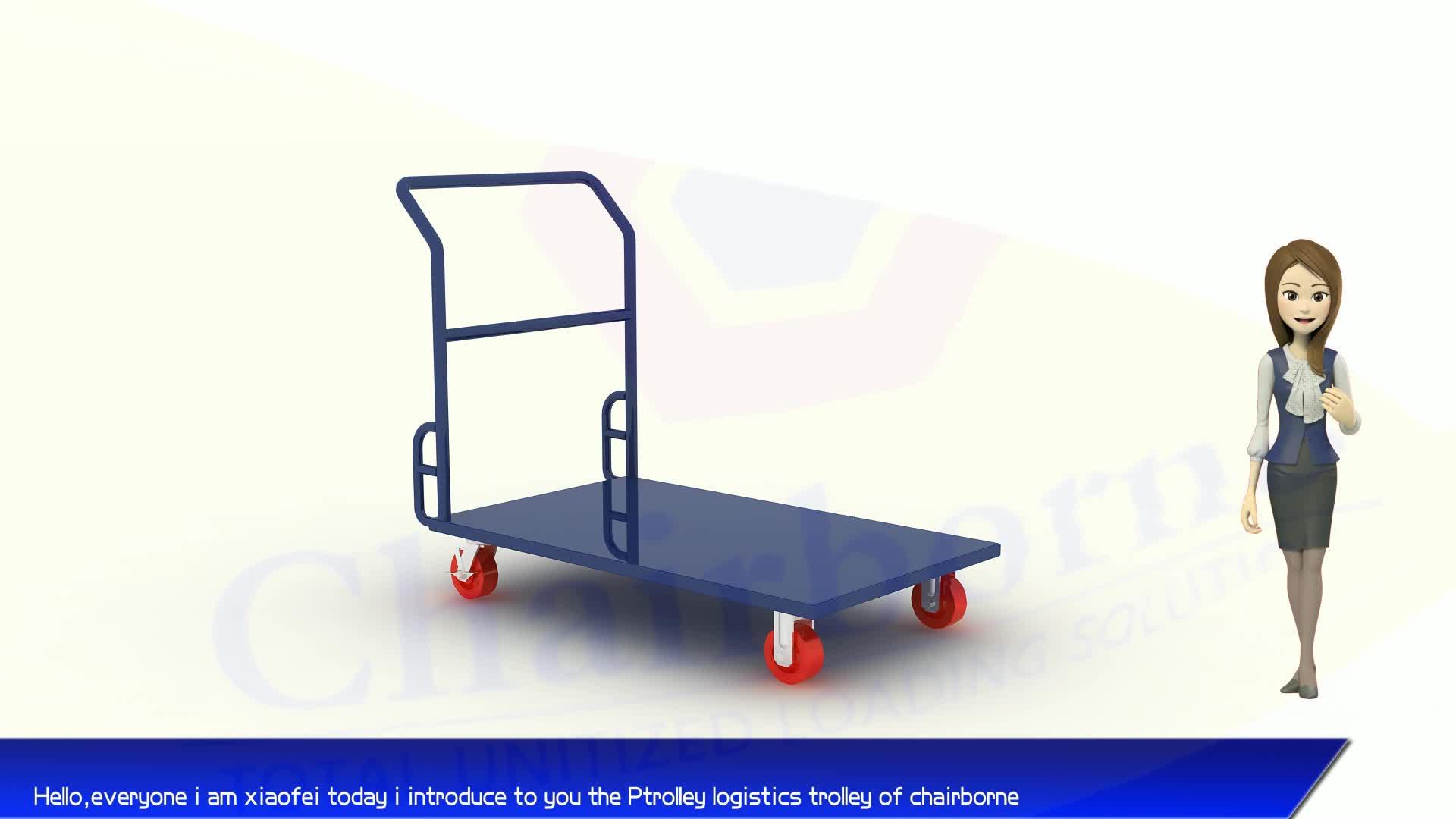 Steel foldable transport trolley 300kg platform trolley for warehouse