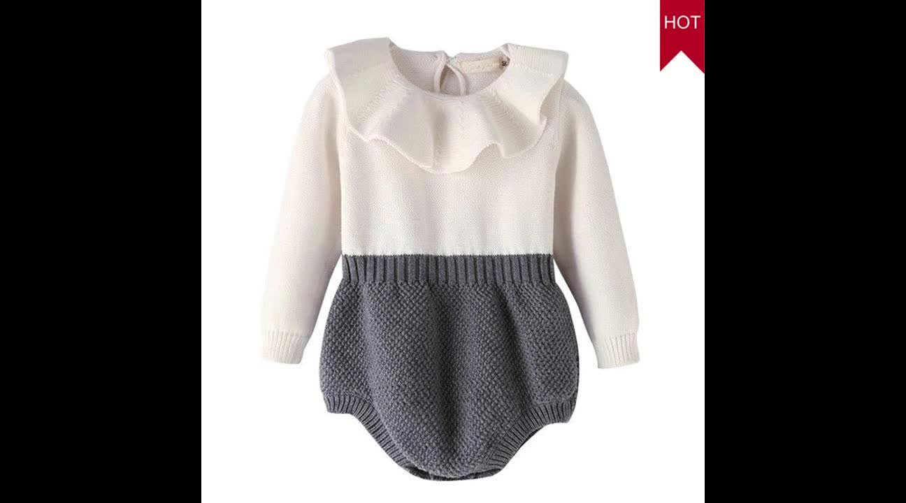Wholesale frill collar knitted design romper baby funny clothes 0-24M