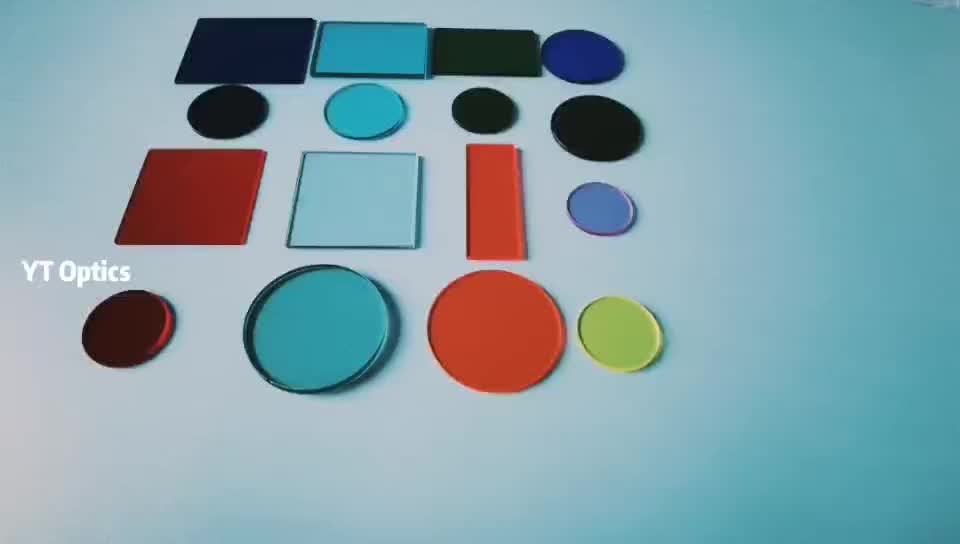 Oprical Color Filter Glass Red/Yellow/Green/Blue/Voilet/Orange/Black Color Glass